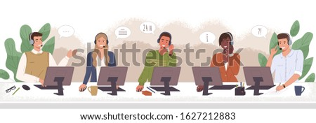 Hotline workers wearing headsets, customers services and communication vector. Call center agents in headphones with microphone at computer. Delivery and shipping operator, helpline or hotline center