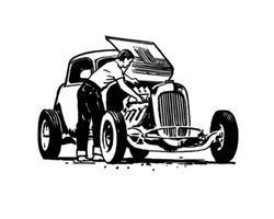 Hotrod Repair - Retro Clip Art