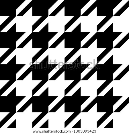 Hounds tooth classic motif black and white template. Simple geometric pie de poul allover print block for interior decoration, textile accessories, fabric cloth. Eighties fashion design vector graphic Foto stock ©