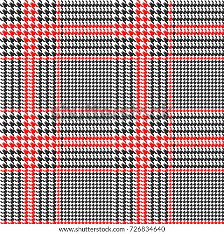 Hounds-tooth seamless vector pattern. Geometric print in black and red color .  Classical English background Glen plaid (Glenurquhart check) for fashion design.