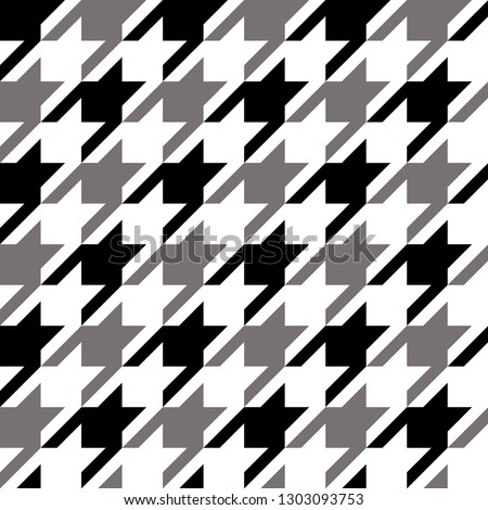 Houndstooth classic motif black and white template. Simple geometric pie de poul allover print block for apparel textile, garment, wear fabric, man scarf, cloth. Eighties fashion design vector graphic