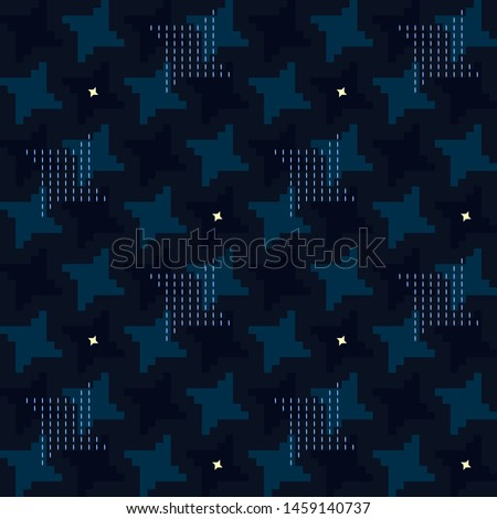 Houndstooth pattern night sky stars motif. Simple geometric pie de poul all over print block for apparel textile, garment, ladies dress fabric, mens shirt. Eighties fashion hatch design vector graphic