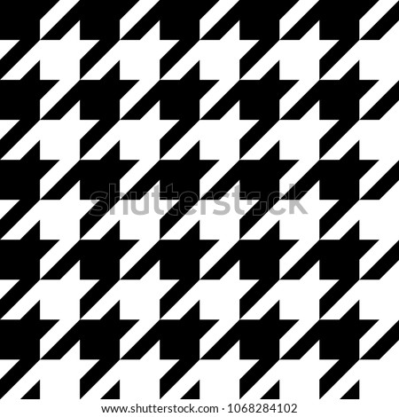Houndstooth Seamless Pattern Black and White. Vector.