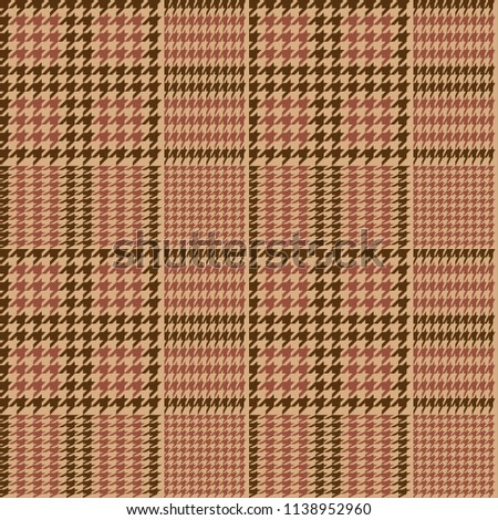 Houndtooth Checkered Seamless Pattern Beige and Brown. Vector.