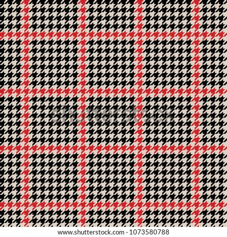 Houndtooth Checkered Seamless Pattern Black and Red. Vector.