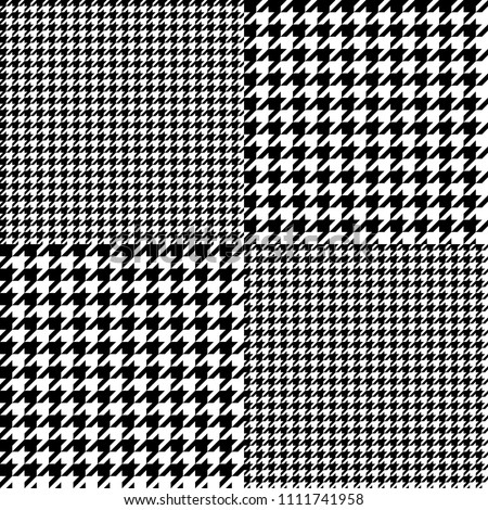Houndtooth Checkered Seamless Pattern Black and White. Vector.
