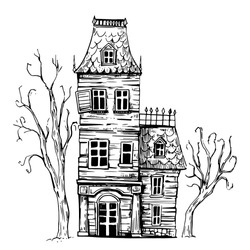 Hounted house. Old house. Halloween. Hand drawn sketch illustration. Vector