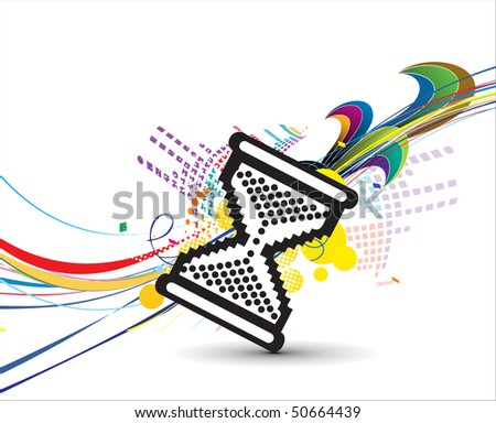 hourglass cursor with abstract wave background, Vector illustration
