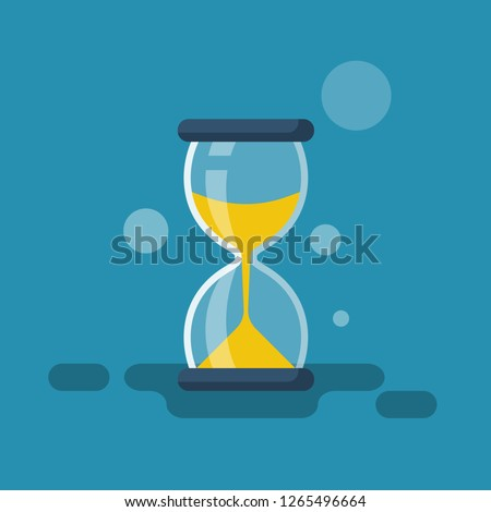 Hourglass flat icon. Vector illustration cartoon design. Isolated on white background.