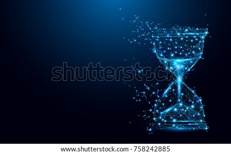 Hourglass icon from lines and triangles, point connecting network on blue background. Illustration vector