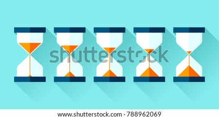 Hourglass icons set in flat style, sandglass on blue background. Vector design elements for you project