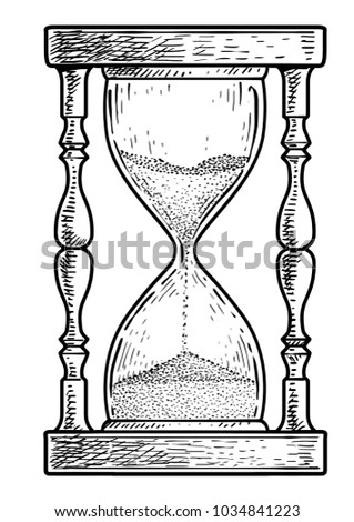 Hourglass illustration, drawing, engraving, ink, line art, vector