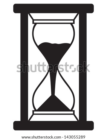 Hourglass isolated on white background. Silhouette