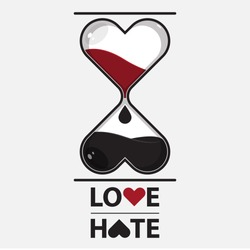Hourglass of love and hate. Vector.  Illustration