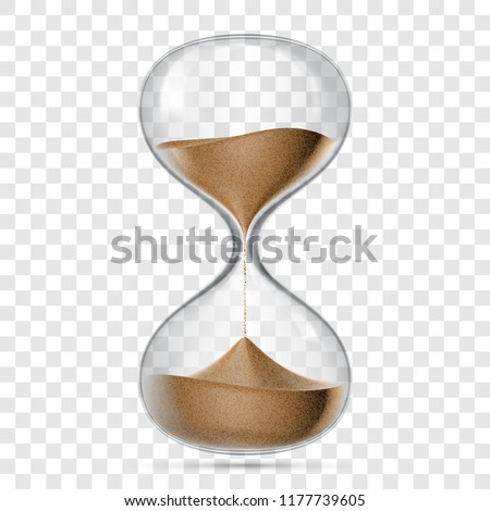 Hourglass or sandglass vector realistic 3D icon isolated on transparent background. Vector hour glass clock with flowing sand