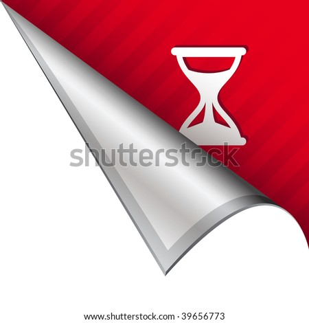 Hourglass or timer icon on vector peeled corner tab suitable for use in print, on websites, or in advertising materials.