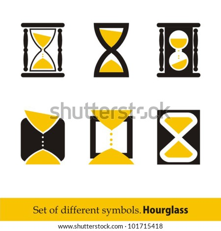 Hourglass symbols and icons for time concept and design