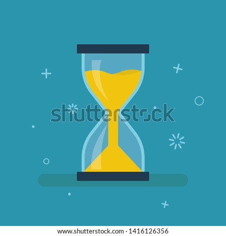 Hourglass timer isolated clock. Running sandglass. Vintage sand clock on blue background in trendy flat style. EPS 10