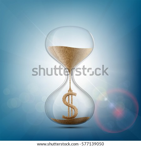 hourglass with a dollar sign