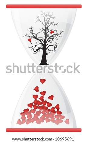 Hourglass with hearth tree