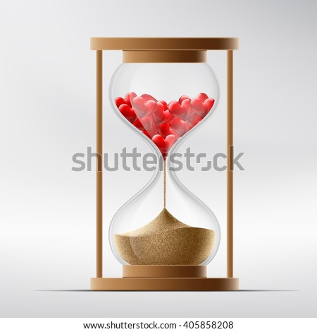 hourglass with human hearts