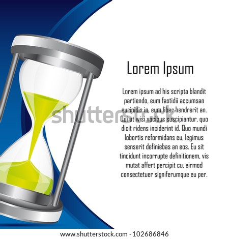 hourglass with space for copy backkground. vector illustration