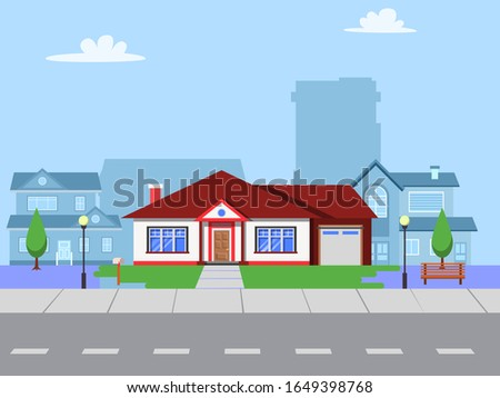 hous along the street. House in flat design style. Street of large suburban homes. Colorful residential hous. Home, building, house exterior, family house, modern house