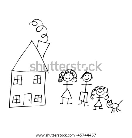 house and family in kids drawing style
