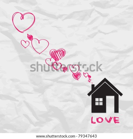 House and hearts instead of smoke rising from the chimney on a paper-background. Abstract vector illustration.