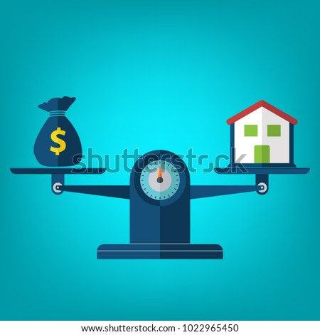 House and Money on weighing machine. Scales with house and money. Real estate, rental, expense, liabilities and mortgage concept. Vector illustration