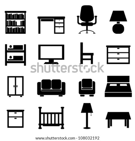 House and office furniture icon set