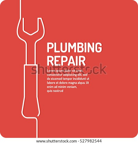 House and plumbing repair. Poster design services for building maintenance. Vector illustration.