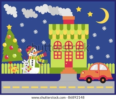 House and yard decorated for the holiday Christmas - stock vector