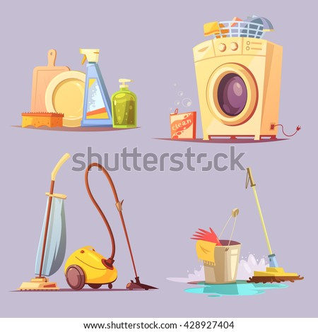 House apartments cleaning janitor services cartoon retro style 4 icons set with washing machine abstract vector illustration