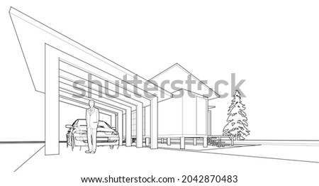 house architectural sketch 3d
