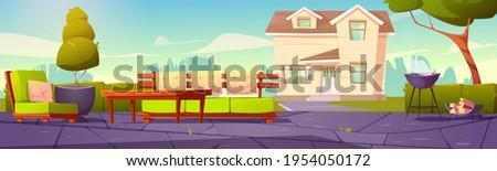 house backyard  patio with sofa