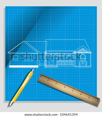 House Blueprint and pencil eps10