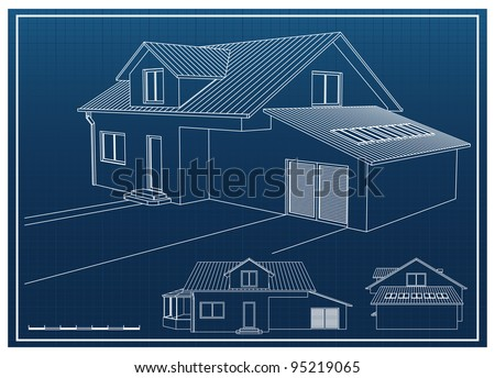 House blueprint vector background