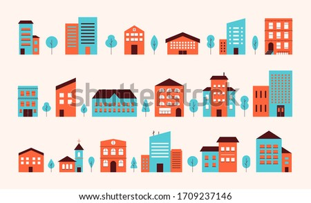House building city landscape. Neighborhood town house facade exterior flat design. Colorful townhouse building apartment set front view isolated on pastel background. Vector illustration