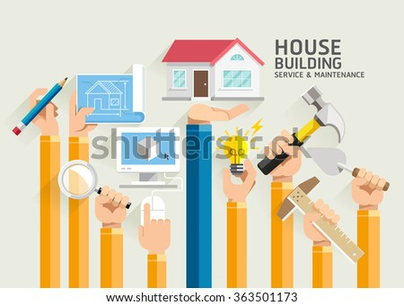 House Building Service and Maintenance. Vector Illustrations.