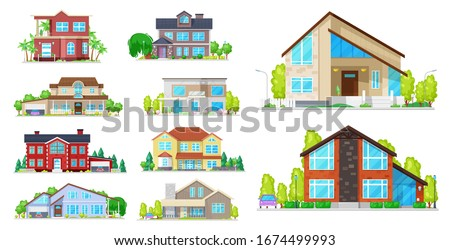 House building vector icons. Village home, cottage and villa, mansion, bungalow and townhouse, architecture and real estate industry. Exterior of buildings with windows, roofs, doors and garages