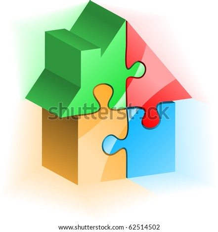 House built from colored puzzle