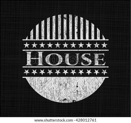 House chalk emblem, retro style, chalk or chalkboard texture