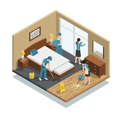 House cleaning isometric composition with professional workers washing window and floor, making bed, vacuuming carpet vector illustration