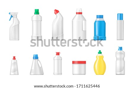 House cleaning plastic products realistic mockup set isolated. Cleaning products cleaning supplies for home, household. Plastic bottles differents shapes template for toilet bathroom cleaning vector