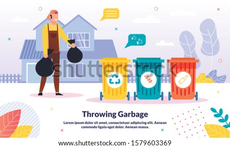House Cleaning Service, Waste Separate Collecting and Recycling Company Trendy Vector Advertising Banner, Promo Poster Template. Worker in Overall Trowing Garbage Bags in Containers Illustration