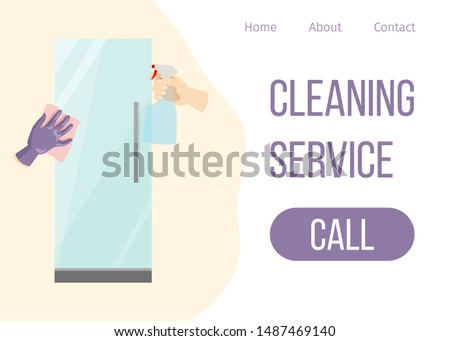 House cleaning services vector web template. Hand in glove and mop and spray with cleaned refrigerator flat illustration. House cleaning call button.