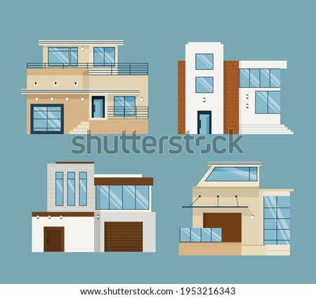 House collection. Modern suburban cottage. Townhouse building apartment. logo icon set. Townhouse neighborhood. Real estate. Home facade. Home residential houses. Vector illustration.