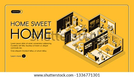 House construction company dwelling place configuration service isometric vector web banner. Residence, apartment rooms cross section plan illustration. Interior design atelier landing page template