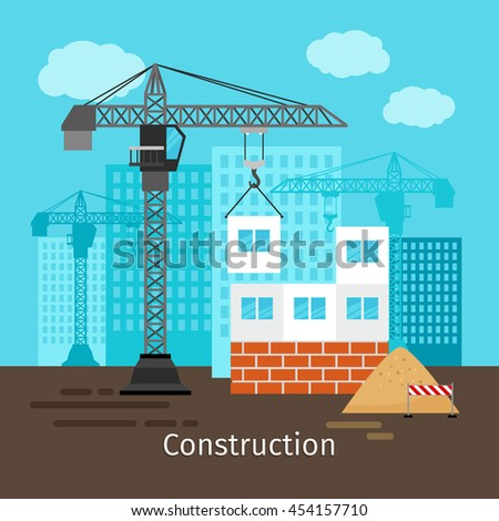 House construction with building crane for site construction vector illustration